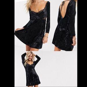 FREE PEOPLE KAT velvet mini dress black small